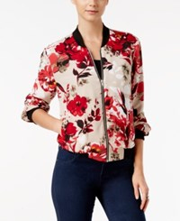Inc International Concepts Petite Floral Print Bomber Jacket Only At Macy's Fresh Cement