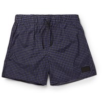 Acne Studios Perry Checked Mid Length Swim Shorts Navy