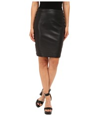 The Kooples Leather And Metallic Embroidery Skirt Black