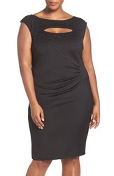 Marina Plus Size Women's Embellished Cutout Detail Draped Scuba Sheath Dress Black