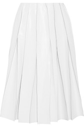 J.W.Anderson Pleated Faux Leather Skirt White