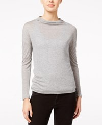 Armani Exchange Sheer Cowl Neck Top Grey