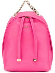 Furla Small Chain Detail Backpack Pink And Purple