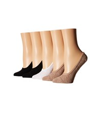 Steve Madden 5 Pack Mesh Animal Texture Footie Black Nude White Women's No Show Socks Shoes Multi