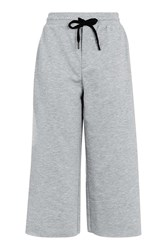 Topshop Cropped Wide Leg Joggers Grey Marl