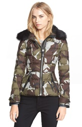 Burberry Brit 'Tottsdale' Genuine Shearling Collar Down Jacket Sage