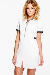 Boohoo Sports Trim Zip Front Bomber Dress White