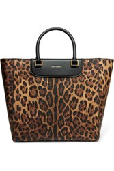 Dolce And Gabbana Leopard Print Textured Leather Tote Animal Print