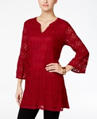 Styleandco. Style Co. Split Neck Lace Tunic Only At Macy's Deep Scarlet