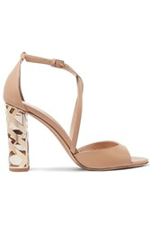 Burberry London London Metallic Trimmed Leather Sandals Neutral