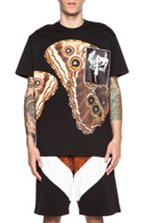 Givenchy Butterfly Print Cotton Tee With Satin Orchid Patch In Black
