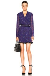 Carven Printed Long Sleeve Dress In Blue Purple Abstract
