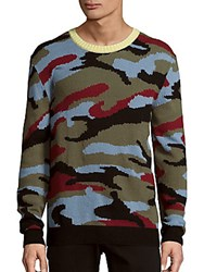 Valentino Long Sleeve Cashmere Sweater Camo Multi