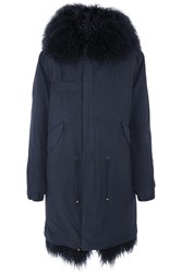 Mr And Mrs Italy Shearling Lined Cotton Canvas Parka Midnight Blue