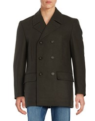 Lauren Ralph Lauren Wool Blend Double Breasted Pea Coat Olive