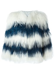 Msgm Cropped Fur Jacket White