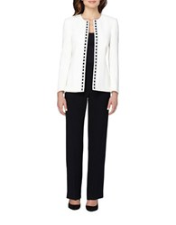 Tahari By Arthur S. Levine Plus Jewel Neck Beaded Open Jacket Pant Suit Cloud White