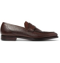 George Cleverley Scotch Grain Leather Loafers Brown