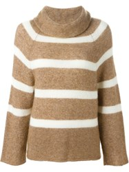 Hache Roll Neck Striped Sweater Nude And Neutrals