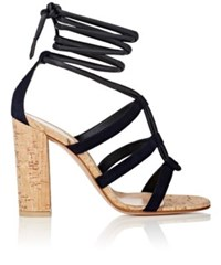 Gianvito Rossi Women's Cayman Leather And Suede Ankle Tie Sandals Navy