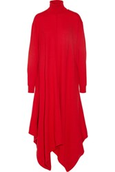 Stella Mccartney Oversized Felted Wool Turtleneck Dress Tomato Red