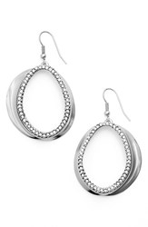Women's Karine Sultan Crystal Front Hoop Earrings Silver