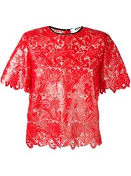 Msgm Short Sleeve Lace Blouse Red