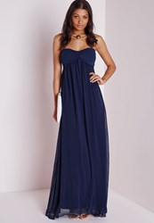 Missguided Navy Chiffon Maxi Prom Dress Blue