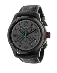 Gucci Mens Black Plated Watch With Textured Fabric Strap