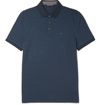 Michael Kors Slim Fit Striped Cotton Pique Polo Shirt Blue