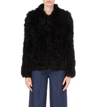 Karen Millen Shearling Jacket Black