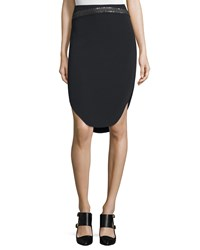 Maiyet Mid Rise Embroidered Slim Cutaway Skirt Black