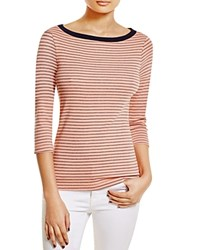 Three Dots Anne Striped Tee Coral Cream Navy