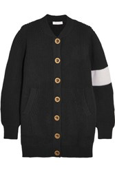Chloe Two Tone Wool Cardigan Black