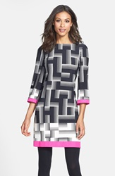 Print Jersey Shift Dress Online Only Print Pink Trim