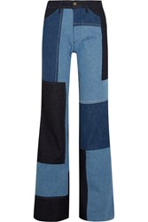 Victoria Beckham Patchwork High Rise Wide Leg Jeans Light Denim