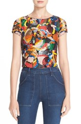 Alice Olivia Women's 'Kelli' Embellished Crop Top Kaleidoscope Bubbles