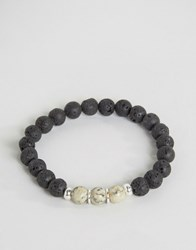 Seven London Beaded Bracelet With Contrast Marble Effect Black
