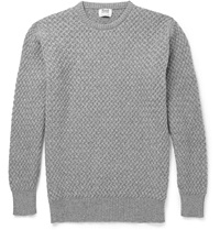 William Lockie Cable Knit Cashmere Sweater Gray