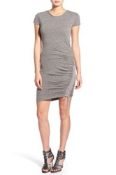 Pam And Gela Lace Up Body Con T Shirt Dress Gray