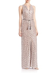 Kay Unger Sequined Lace Belted Gown Bisque