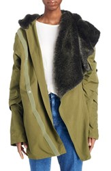 Toga Women's Hooded Cocoon Coat With Removable Faux Fur Collar Khaki