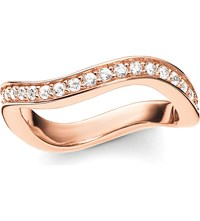 Thomas Sabo Glam And Soul Wave 18 Carat Rose Gold Plated Sterling Silver And Pave Zirconia Midi Eternity Ring