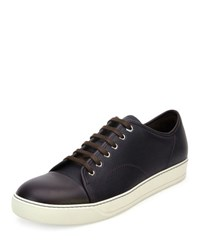 Lanvin Grainy Leather Low Top Sneaker Purple