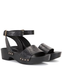Tomas Maier Embossed Leather Sandals Black