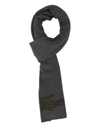 Lacoste Charcoal Reversible Scarf With Crocodile Logo Grey