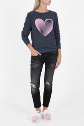 Wildfox Couture Women S Faded Love Heart Jumper Boutique1 Blue
