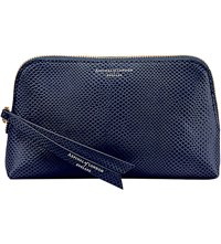 Aspinal Of London Essential Lizard Embossed Leather Cosmetic Case Blue
