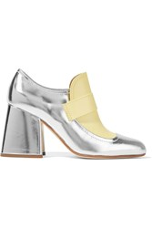 Marni Metallic Leather Two Tone Pumps Silver