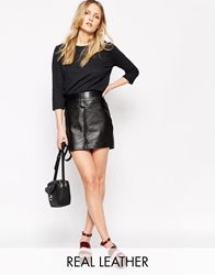Ganni Leather Mini Skirt Black